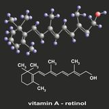 Vitamin A. 3D and flat models of vitamin A molecule Stock Image