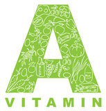 Vitamin A. The form A filled with meal Royalty Free Stock Photography