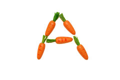 Vitamin_A. A letter made of carrots Royalty Free Stock Photography