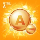 Vitamin- Aharzöl-Vektor Vitamin-Goldöl-Pillen-Ikone Organische Vitamin-Goldpillen-Ikone kapsel Für Schönheit Kosmetik stock abbildung