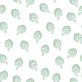 Vitamin artichoke doodle pattern for kitchen design. Seamless artichoke pattern. Vitamin doodle for kitchen design Royalty Free Stock Photo