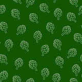 Vitamin artichoke doodle pattern for kitchen Royalty Free Stock Image