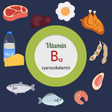 Vitamin B12 or Cobalamin infographic. Vitamin B12 or Cobalaminand vector set of vitamin B12 rich foods. Healthy lifestyle and diet concept Stock Photo