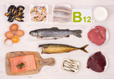 Vitamin B12, das Nahrungsmittel enthält Lizenzfreies Stockbild