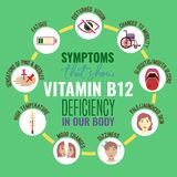 Vitamin B12 deficiency. Signs and symptoms. Medical icons. Vector illustration in bright colours on a green background. Beauty, health care and eutrophy concept stock illustration
