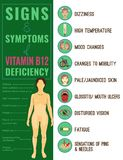Vitamin B12 deficiency. Signs and symptoms. Medical icons. Vector illustration in bright colours on a white background. Beauty, health care and eutrophy concept royalty free illustration