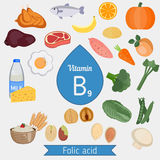 Vitamin B9 or folic acid infographic Stock Photos