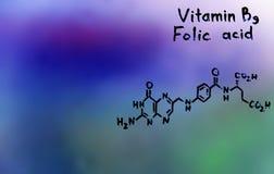 Vitamin B9, formel, vitaminer Arkivfoto