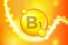 Vitamin B1 gold shining pill capsule icon . Vitamin complex with Chemical formula. shine gold sparkles. medical and pharmaceutical. Ads. Vector illustration stock illustration