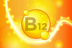 Vitamin B12 gold shining pill capsule icon . Vitamin complex with Chemical formula. shine gold sparkles. medical and pharmaceutica royalty free illustration