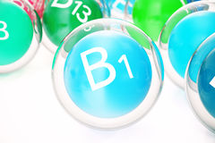 Vitamin B1, group of organic substances, food additive, isolated, on white background, 3d rendering. Vitamin B1, group of organic substances, food additive Royalty Free Stock Images