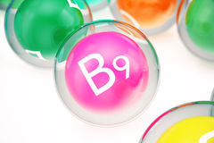 Vitamin B9 , isolated on white background. Symbol of health and longevity, 3d rendering Royalty Free Stock Photography