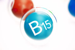 Vitamin B15 , isolated on white background. Symbol of health and longevity, 3d rendering Royalty Free Stock Images