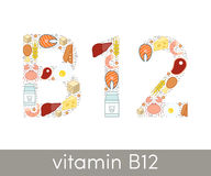 Vitamin B12. Letter B and number 12 symbolizing vitamin B12 concept Stock Images