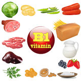 Vitamin b one in plant and animal products The origin of the Royalty Free Stock Photography