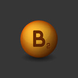 Vitamin B2 Orange Glossy Sphere Icon on Dark Background. Vector Royalty Free Stock Photos