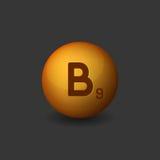 Vitamin B9 Orange Glossy Sphere Icon on Dark Background. Vector Royalty Free Stock Images