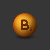 Vitamin B6 Orange Glossy Sphere Icon on Dark Background. Vector Stock Images