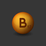Vitamin B12 Orange Glossy Sphere Icon on Dark Background. Vector Stock Images