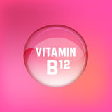 Vitamin B12 01 A. Vitamin B12 pill. Shining glossy circle droplet. Vector illustration in pink and light magenta colours. Medical and pharmaceutical image Royalty Free Stock Photo