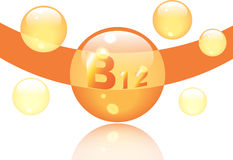 Vitamin B12 shining pill capcule icon . Vitamin complex with Chemical formula, group B, Cyanocobalamin, hydroxocobalamin. Vector Royalty Free Stock Images