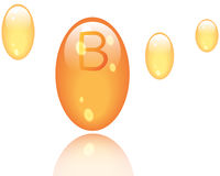 Vitamin B shining pill capcule icon . Vitamin complex with Chemical formula, group B, Cyanocobalamin, hydroxocobalamin. Vector i Stock Images