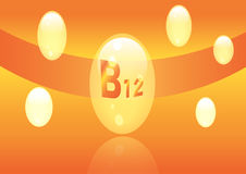 Vitamin B12 shining pill capcule icon . Vitamin complex with Chemical formula, group B, Cyanocobalamin, hydroxocobalamin. Vector i. Vitamin B12 shining pill Royalty Free Stock Image