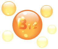 Vitamin B12 shining pill capcule icon . Vitamin complex with Chemical formula, group B, Cyanocobalamin, hydroxocobalamin. Vector i. Vitamin B12 shining pill Stock Image