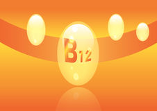 Vitamin B12 shining pill capcule icon . Vitamin complex with Chemical formula, group B, Cyanocobalamin, hydroxocobalamin. Vector i. Vitamin B12 shining pill Stock Photos