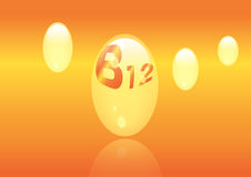 Vitamin B12 shining pill capcule icon . Vitamin complex with Chemical formula, group B, Cyanocobalamin, hydroxocobalamin. Vector i. Vitamin B12 shining pill Royalty Free Stock Photos