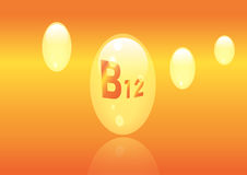 Vitamin B12 shining pill capcule icon . Vitamin complex with Chemical formula, group B, Cyanocobalamin, hydroxocobalamin. Vector i. Vitamin B12 shining pill Stock Photography