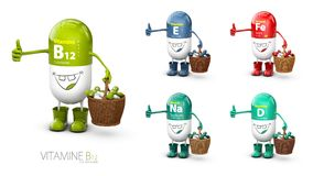 Vitamin B12 shining pill cartoon capsule with set of vitamine. 3d illustration.  Stock Photography