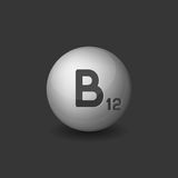 Vitamin B12 Silver Glossy Sphere Icon on Dark Background. Vector Royalty Free Stock Photo