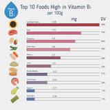 Vitamin B1 or Thiamin infographic. Vitamin B1 or Thiamin and vector set of vitamin B1 rich foods. Healthy lifestyle and diet concept Royalty Free Stock Photo