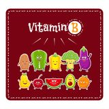 Vitamin b vegetables and fruits. Healthy food illustration. Vegetable and fruit characters. Vitamin b vegetables and fruits. Healthy food vector illustration Stock Images
