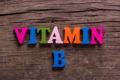 Vitamin B word made of wooden letters Royalty Free Stock Images