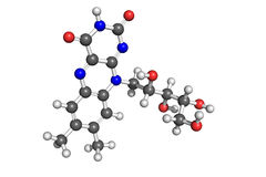 Vitamin B2 structure. Ball and stick model of riboflavin (vitamin B2). Atoms are coloured according to convention (carbon-grey; hydrogen-white; oxygen-red Stock Photo