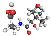 Vitamin B5 molecule. Ball and stick model of vitamin B5, also known as pantothenic acid. Some of pantothenate-rich foods are avocado, eggs, legumes, cereals Stock Photos
