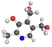 Vitamin B6 molecule. Ball and stick model of vitamin B6, also known as pyridoxine. Atoms are coloured according to convention (nitrogen-blue; carbon-gray; oxygen Stock Image