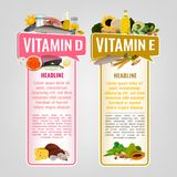 Vitamin Banners Set. Vitamin E and Vitamin D banners with place for text. Vertical vector illustrations with caption lettering and top foods highest in vitamins Royalty Free Stock Images