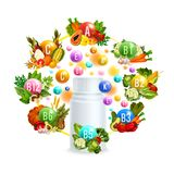 Natural vitamin with healthy food poster design Royalty Free Stock Photography