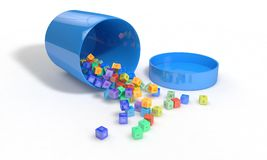 Vitamin box Spilled elements, 3d render. Working Stock Images