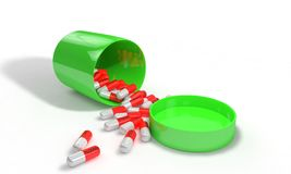 Vitamin box Spilled pills on white, 3d render. Working Royalty Free Stock Images