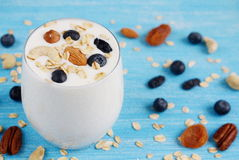Vitamin breakfast yogurt cocktail in glass royalty free stock photo