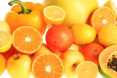 Vitamin c. Fresh Vegetables, Fruits and other foodstuffs. Shot in a studio Royalty Free Stock Photos