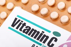 Vitamin C. Tablet and its packaging Royalty Free Stock Photography