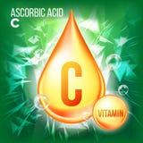 Vitamin C Ascorbic Acid Vector. Organic Vitamin Gold Drop Icon. Medicine Liquid, Golden Substance. For Beauty, Cosmetic. Heath Promo Ads Design. Drip Complex vector illustration