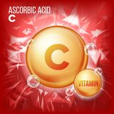 Vitamin C Ascorbic Acid Vector. Organic Vitamin Gold Pill Icon. Medicine Capsule, Golden Substance. For Beauty, Cosmetic. Heath Promo Ads Design. Vitamin Royalty Free Stock Photos