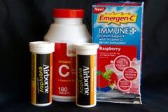 Vitamin C, Emergen-C und zerstreutes Lizenzfreies Stockfoto
