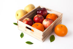 Vitamin c fruit in wooden box Stock Images